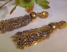 SOLD VTG Gold & Silver Tassel Chain Earrings Sarah Coventry Designer Dangle Jewelry #SarahCoventry #DangleDropVTGDesignerTasselCostumeJewelry