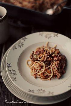 Spaghetti razowe zapiekane