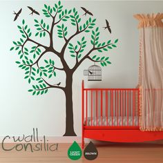 "Tree Wall Decal Wall Sticker - Nursery Wall Sticker - Tree Decal with Birds - Large: approx 85"" x 65"". $75.00, via Etsy."