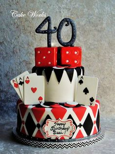Fun Poker Themed Cake For A Birthday Celebration Cards Chips And Are Gumpaste Dice Rice Krispy Treats Iced In Chocolate Ganache Covered