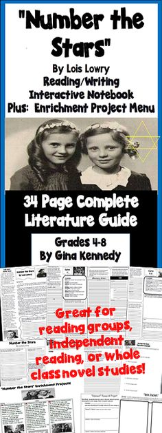 "No-Prep novel study for ""Number the Stars"", a standards based interactive notebook literature guide with follow-up reading response questions for every chapter as well as vocabulary, writing projects, activities and enrichment projects. Teacher friendly engaging lessons to use with this award winning novel by Lois Lowry in your classroom while encouraging critical reading skills.$"