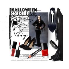 DIY Morticia Halloween Costume by clotheshawg on Polyvore featuring mode, BCBGMAXAZRIA, Smashbox, halloweencostume and DIYHalloween