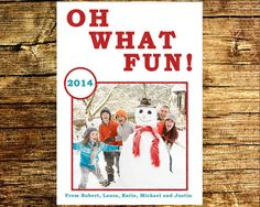 Photo Christmas Card / Oh What Fun Red Glitter / by BlissfulSoiree