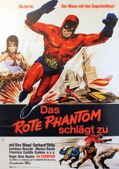 The Red Phantom, 1967 - original vintage film poster for the German release of an Italian/Spanish movie, The Red Phantom (Superargo contro Diabolikus / Das rote Phantom schlagt zu), listed on AntikBar.co.uk