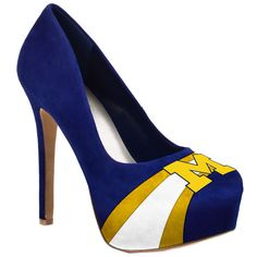 HERSTAR™ Women's Michigan Wolverines High Heel Microsuede Pumps (BLUE, BLUE YELLOW, BLUE YELLOW WHITE, MICHIGAN, MICHIGAN WOLVERINES, NCAA, UNIVERSITY OF MICHIGAN, WHITE, WOLVERINES, YELLOW) | NCAA Shoes | HERSTAR