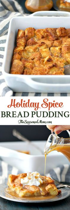 Holiday Spice Bread Pudding is an easy dessert that's ready with only 10 minutes of prep, and it will fill your house with the cozy aroma of the season! #CookbookContest #MorethanaMeal #ad @potatorolls Bread Puddings, Bread Pudding Recipes, Pudding Desserts, Eggnog Bread Pudding, Eggnog Fudge, Easy Desserts, Delicious Desserts, Desert Recipes, Holiday Recipes