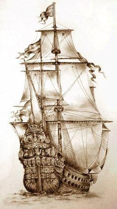 Tall Ships and Maritime History - British four-masted bark SAMARITAN, Tall Ship Amerigo Vespucci, Pommern ( 1903 ) Four Masted Barqu - Amazing Drawings, Beautiful Drawings, Pirate Ship Drawing, Stürmische See, Pirate History, Old Sailing Ships, Wood Burning Art, Ship Art, Tall Ships