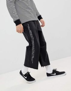 Find the best selection of Cheap Monday Bez Cropped Jeans with Pixel Side Stripe. Shop today with free delivery and returns (Ts&Cs apply) with ASOS! Loose Jeans, Cropped Jeans, Stripes Fashion, White Fashion, Asos, Oversized Jeans, Cheap Monday, Jean Outfits, Ladies Dress Design