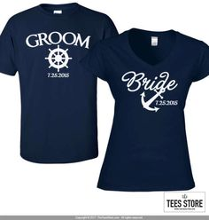 A premium nautical inspired Bride and Groom (His & Her) t-shirt set made especially for you. HOW TO ORDER: From drop down menu, please choose the following for each tee: • Size ***State the date to be added in the notes to seller section when purchasing the listing. ----- Women - V-Neck