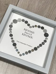 Home Sweet Home Gift Button Art Wedding Gift Valentines Box Frame Art, Box Frames, Button Art, Button Crafts, Diy Wedding Gifts, Diy Gifts, Wedding Ideas, New Crafts, Diy And Crafts