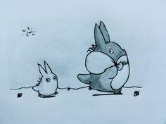 Chibi and Chu Totoro by ~TinyTinaa