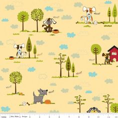 Puppy Park Main Yellow by Bella Blvd. for Riley Blake, 1 yard 100% cotton