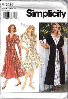 Simplicity 9046 Ladies Flared Laced Front Dress Sewing Pattern Plus Sizes 18-22 Out of Print UNCUT