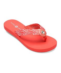 c76a1fa24bf6d Take a look at the Coral Lulu Flip-Flop on  zulily today! Lindsay