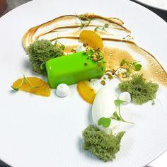 Citrus meringue - white chocolate citrus mousse torte micro Pistachio sponge…