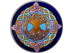 "10"" Round Irish CELTIC TREE OF LIFE Blue Stained Art Glass Suncatcher – Tapestry Shoppe"