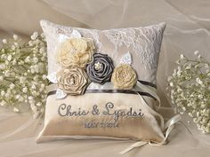 Custom Embroidery is welcome !    Elegant Wedding Pillow    Customizable Personalized wedding Ring Pillows , Can be personalized with Mr. &