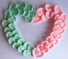 Twenty-four (24) Crochet HEARTS in baby pink and mint (12 of each color): Perfect for new baby crafts and attire baby shower baby room decor
