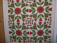 """BEAUTIFUL RED N GREEN PINEAPPLE N ROSE 4 BLOCK ANTIQUE APPLIQUE QUILT, ebay seller hearts-n-stitches, all hand sewn, quilted, 78"""" x 79.5"""", 34"""" blocks, center roses average 10.5""""; tin, even batting, never washed, 2 quilting designs, 2 blocks each - 3/4"""" grid and overlapping circle designs"""