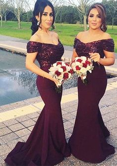 Off the shoulder Grape mermaid bridesmaid dress,sequins dress for bridesmaid,long prom dresses,2124