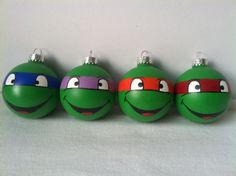 TMNT Ninja Turtles Hand Painted Ornament Set of 4