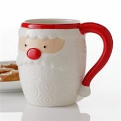 Hallmark Santa Shaped Mug with Swirl Design #hiddentreasuresdecorandmore #hallmark #santa #mug #swirldesign