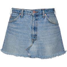DON'T TOUCH DENIM SKIRT (€125) ❤ liked on Polyvore featuring skirts, bottoms, saias, blue denim skirt, blue skirt, embroidered skirt, denim skirt and knee length denim skirt