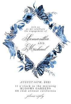 Boho Blue Floral - Engagement Party Invitation #invitations #printable #diy #template #Engagement #party #wedding Gift Registry, Invitation Templates, Bridal Shower Invitations, Printable, Island, Boho, Floral, Party, Diy