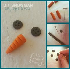 how to make carrot eyes and button nose easily from polymer clay for your handmade snowman - great for crocheted, sewn or sock snowmen!