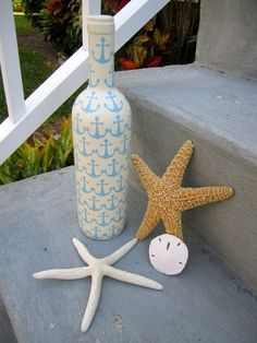 Beach style upcycled wine bottle