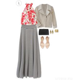 The Special Occasion Maxi Skirt - pair a stripe with a floral, add heels and go!