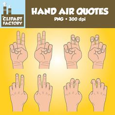 Clip Art: Hands Air Quotes  Color and Black by TheClipartFactory