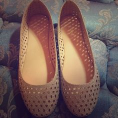 Silver sparkly flats Cute flats only worn a few times. Love the cut out designs Shoes Flats & Loafers