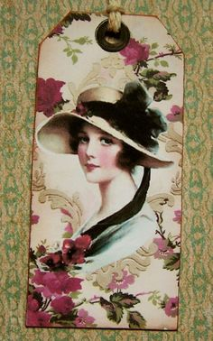 Vintage Tag Victorian Garden Party Lady 6pcs by Paperquick on Etsy, $4.00