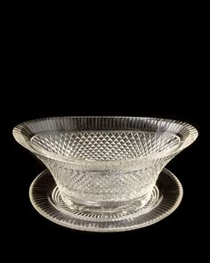 """Cut crystal oval dish with underliner, England mid 19th century. Length 10"""" Width 7.5"""""""