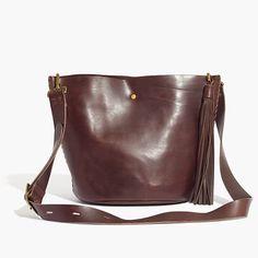 Madewell Rivet And Thread Tassel Mini Bucket Bag Leather Shoulder Bag, Shoulder Strap, Shoulder Bags, Keepsake Crafts, Satchel, Crossbody Bag, Vegetable Tanned Leather, Italian Leather, Leather Handbags