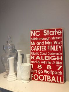 NC State Distressed Decorative Sign by PorchSwingPrimitives, $65.00