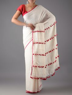 Buy Ivory Red Cotton Linen Saree with Tassels Sarees Woven Stories Colorful and silk Online at Jaypore.com