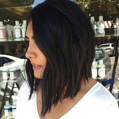 Straight Black Angled Lob Haircut Idea