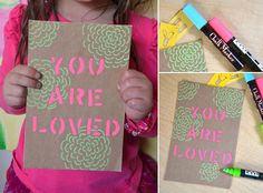 Stencil Art with Kids – Father's Day Gifts – You Are Loved | Small for Big