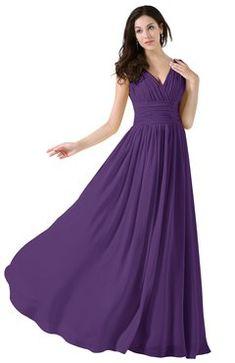 4a48a0910f330 ColsBM Alana Dark Purple Elegant V-neck Sleeveless Zip up Floor Length  Ruching Bridesmaid Dresses