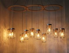 Mason Jar Chandelier, Large Rustic Mason Jar Pendant Lamp Lighting Fixture by BootsNGus, 10 Clear Ball Jars, Bulbs Included Mason Jar Chandelier - Mason Jar Light - Canopy Style Large Swag Light - BootsNGus Lamp Design - Hanging Pendant Lighting Fixture Mason Jar Light Fixture, Mason Jar Chandelier, Mason Jar Lighting, Mason Jar Lamp, Jar Candle, Light Bulb, Candle Holders, Candles, Chandelier Lighting Fixtures