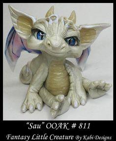Art Doll Polymer Clay Fantasy Dragon Miniature Ado by KabiDesigns