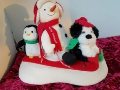 Hallmark 2007 Jingle Pals Sleigh Ride Snowman Penguin & Dog This is a Hallmark 2007 Jingle Pals animated plush Christmas decoration. Item: Snowman with his friend's puppy and penguin sit on top of a red sled. | eBay!