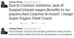 OMG!!! Sunday Oliseh resigns as Super Eagles Coach