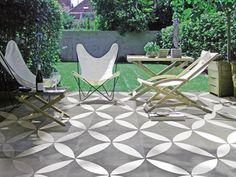 Duostone Dessin Flower White on Black in cm Patio Tiles, Outdoor Tiles, Outdoor Spaces, Outdoor Decor, Exterior Tiles, Exterior Design, Terrace Design, Garden Design, Diy Wooden Planters