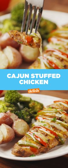 Cajun Stuffed Chicken is SO amazing you'll forget it's healthy. Get the recipe at Delish.com.