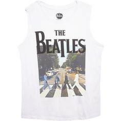 Bravado  The Beatles Abbey Road Muscle Tank ($20) ❤ liked on Polyvore featuring tops, shirts, tank tops, blusas, wet seal shirts, muscle tank, wet seal, white crew shirt and crew shirt
