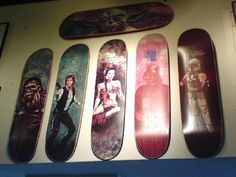 I think the Han Solo board says Rick Howard. If I remember correctly, these were a set Plan B made. Obviously this was when skate companies would rip off any graphics they wanted because they just didn't give a fuck if they got a cease and desist order. Ah, the 90's were fun...!