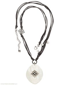 """Moonlight becomes you in this Necklace of Sterling Silver, Pearl and Cubic Zirconia with a shimmering etched Shell and Lucite Pendant.  22"""" with a 2"""" Extender."""